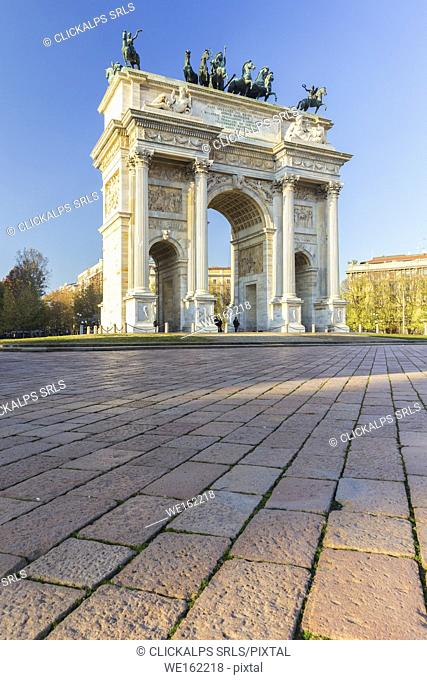 View of the Arco della Pace monument in Piazza Sempione. Milan, Lombardy, Italy