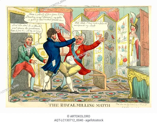 The royal milling match, Caricature showing Lord Yarmouth hitting the Prince Regent in the eye, as Lady Yarmouth looks from behind screen covered with...