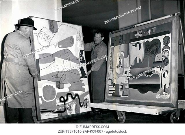 Oct. 10, 1957 - Le Corbusier exhibiton in Munich: The great Le Corbusier exhibition giving a complete summary about the works of the many sided artist (Swiss)...