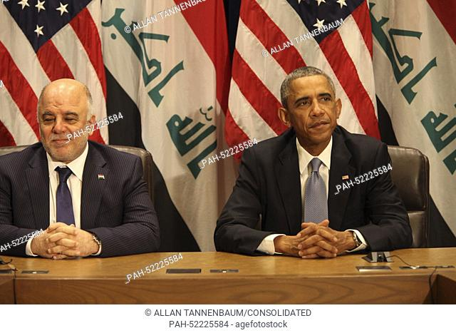 United States President Barack Obama holds a bilateral meeting with Prime Minister Haider al-Abadi of the Republic of Iraq at Un Headquarters in New York