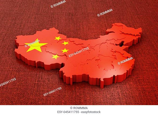 A volumetric map of China on the flag. 3d rendering