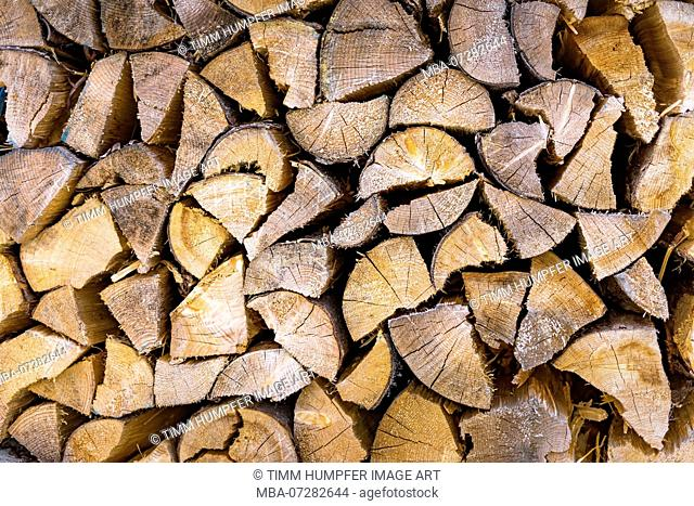 Detail view of a pile of wood