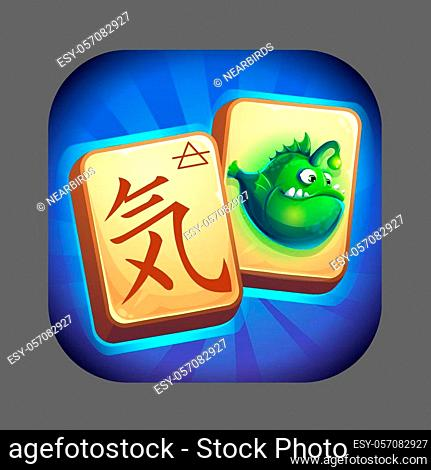 Icon for game user interface. Vector illustration to the computer game Mahjong fish world GUI. Background image to create original video or web games