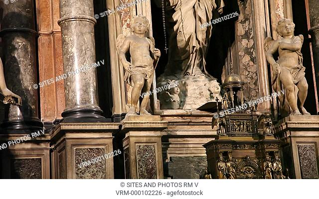 Interior, TILT up, CU, view of the Altar of the Virgin of the Tree. Placed in the apse of the north cross-head, it was designed and built by Rinaldi