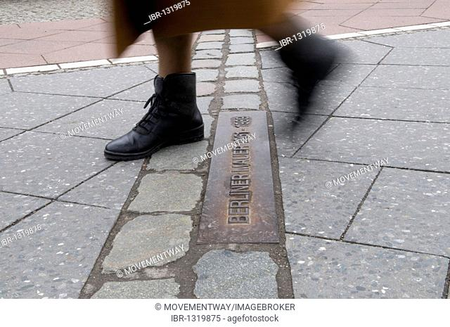 Pedestrian crossing the former site of the Berlin Wall, Berlin, Germany, Europe