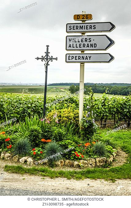 Road signs to destinations in the Champagne region of France