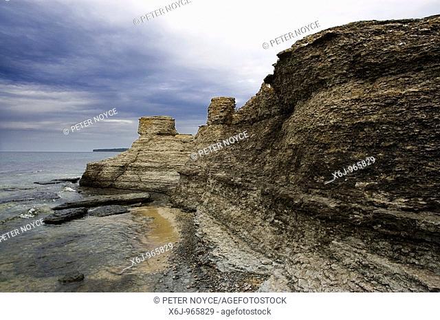 The layered eroded limestone pillars at Byerum Rauker Oland Sweden A37YGT