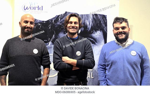 Italian actors and directors Davide Bonacina and Pietro Belfiore from Terzo Segreto di Satira attend with Federico Russo at the talk about women empowerment...