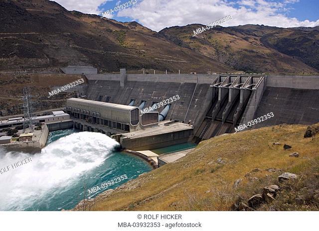 New Zealand, South-island, Central Otago, Clyde Dam, destination, sight, barrage, dam, barrage, wall, spectacular, water, water-masses, lake Dunstan