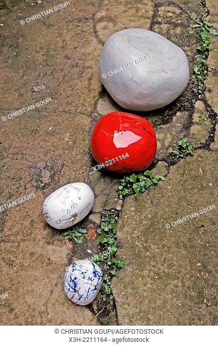 ceramic pebbles by the artist Agnes Claire, La Charite-sur-Loire, Nievre department, Burgundy region, France, Europe
