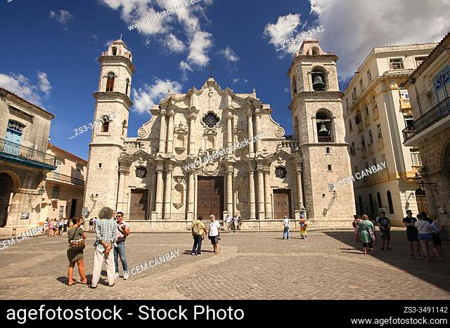 View to the Cathedral Of Havana in Old Havana-Havana Vieja, La Habana, Cuba, West Indies, Central America