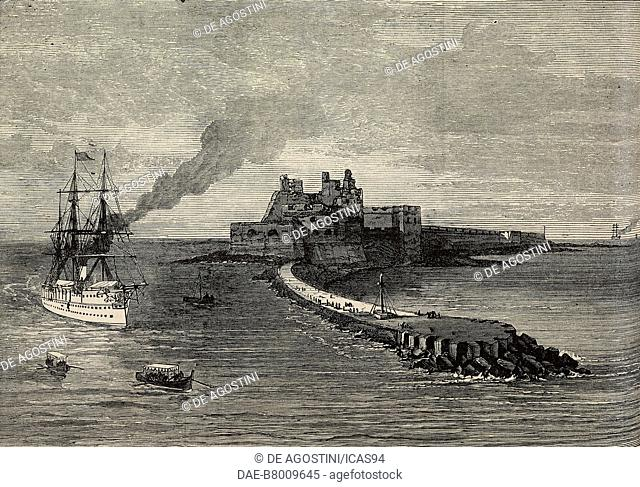 HMS Serapis and the Alfonsino Castle, Brindisi, Italy, Prince of Wales Edward's tour of India, engraving from The Illustrated London News, No 1889, October 23