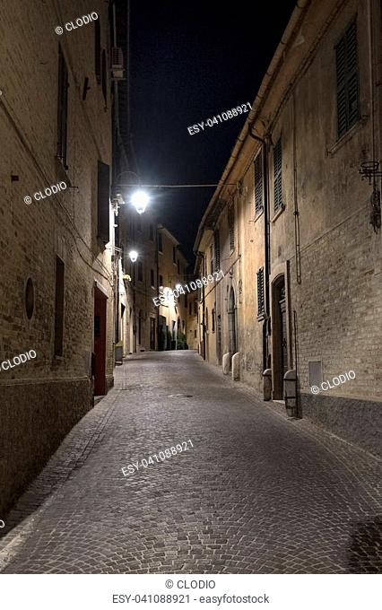 Corinaldo (Ancona, Marches, Italy): the historic town at evening. Street