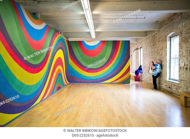 USA, Massachusetts, North Adams, Mass MOCA, Massachusetts Museum of Contemporary Art, former mill buildings converted into art museum, paintings by Sol LeWitt