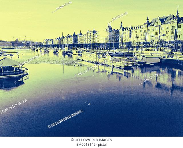 View of Ostermalm waterfront from Djurgardsbron Bridge, Stockholm, Sweden, Scandinavia