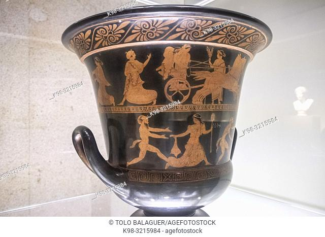 Dioniso persiguiendo una ménade, Crátera - calyx-Krater-, 440 a. C, Agrigento, Ã. tica, Grécia, Fundación Calouste Gulbenkian, («Fundação Calouste Gulbenkian»)