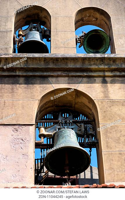 Bell gable with three bells on a church in Donostia San Sebastian, the Basque Country in the north of vSpain