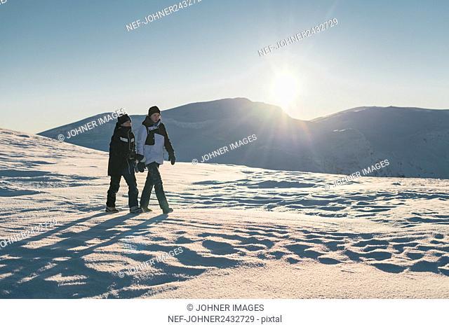 People walking at winter