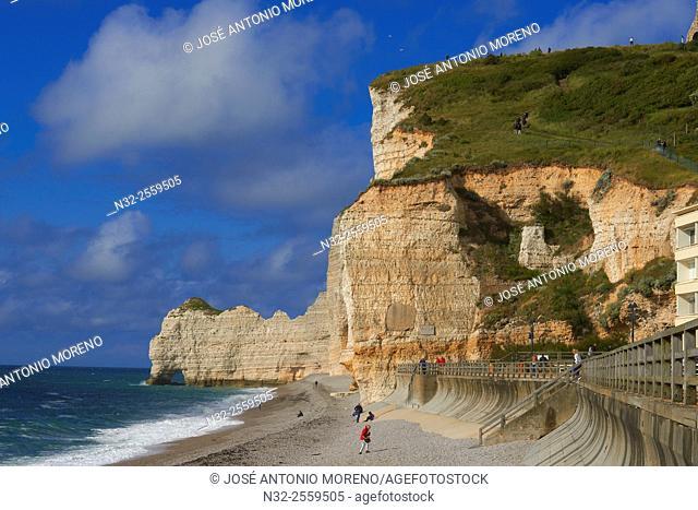 Etretat. Normandy, Porte d'Amont Cliff, Falaise Porte d'Amont, Seine Maritime, Upper Normandy, Haute Normandie, France