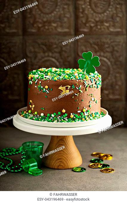 St Patricks day chocolate cake with green sprinkles
