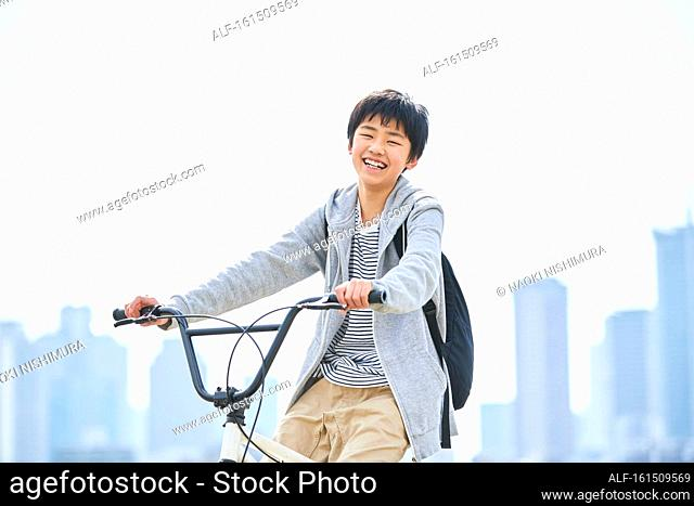 Japanese boy downtown