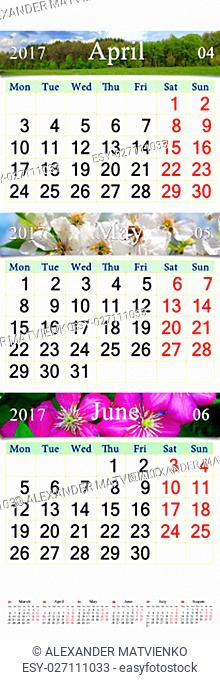 wall calendar for three months April May and June 2017 with images of nature. Wall calendar for second quarter of 2017
