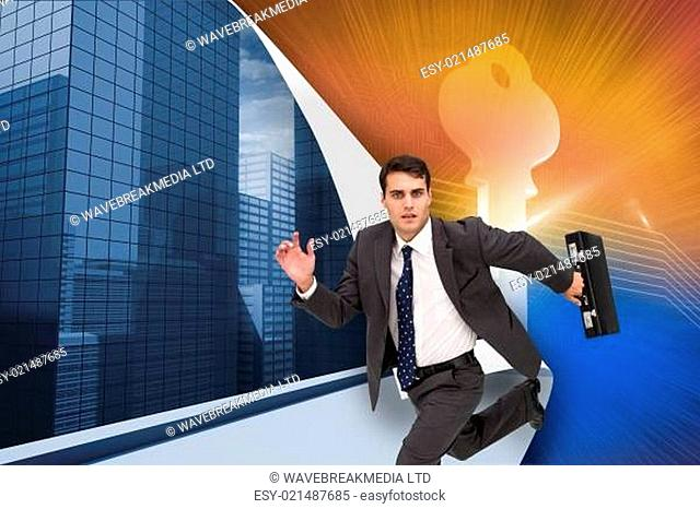 Composite image of stern businessman in a hury