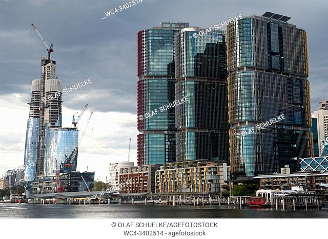 Sydney, New South Wales, Australia - New skyscrapers with the Crown Sydney project still under construction and the International Towers in Barangaroo South at...