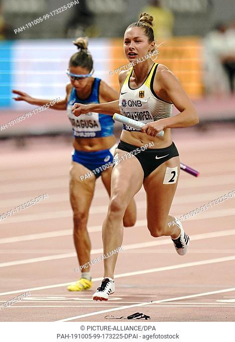 05 October 2019, Qatar, Doha: Athletics, World Championships, World Championships, IAAF, Khalifa International Stadium: 4x100m women, final