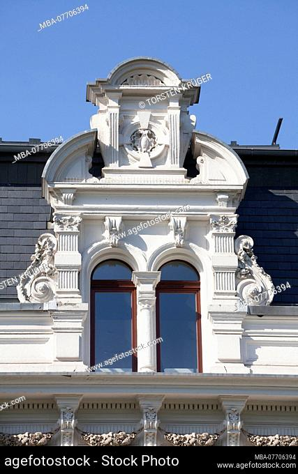 Roof gable, Old villa at the Osterdeich, Bremen, Germany, Europe