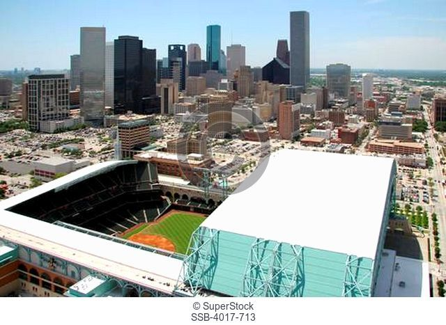 Aerial of Minute Maid Park with the Houston Skyline