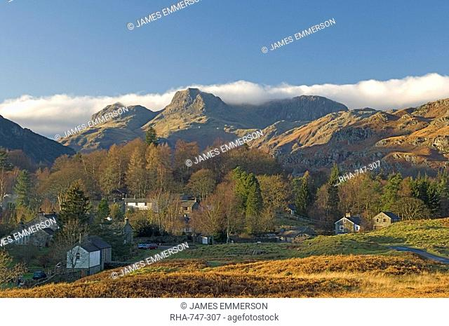 Elterwater village with Langdale Pikes, Lake District National Park, Cumbria, England, United Kingdom, Europe