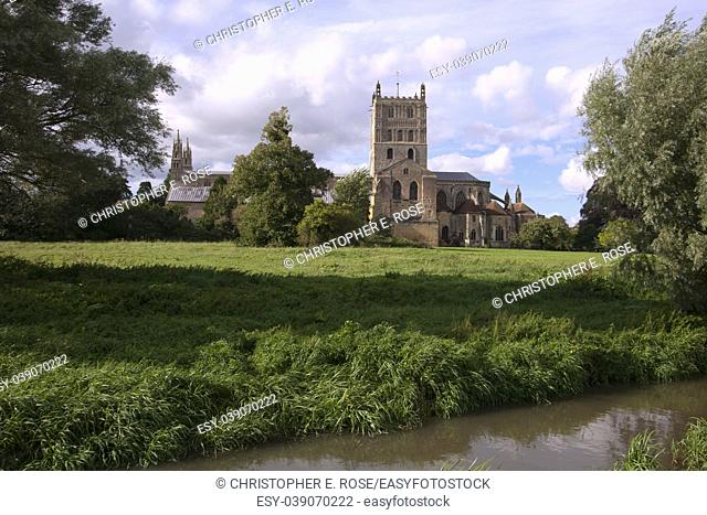 The historic Abbey at Tewkesbury, Gloucestershire, Severn Vale, UK