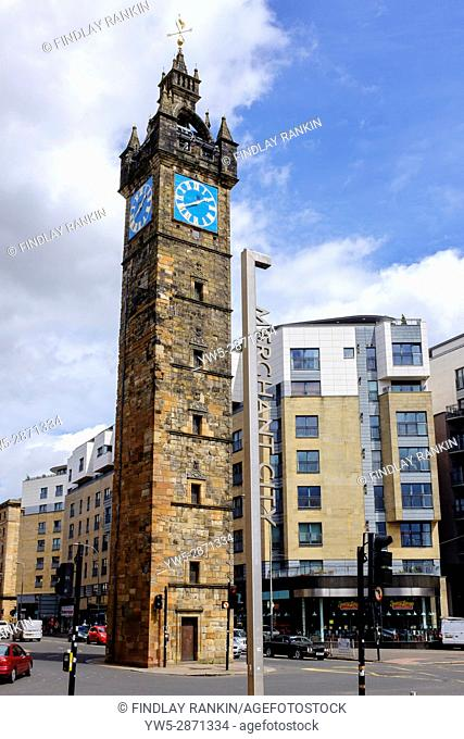 Old clock tower at Glasgow Cross, at the junction of High Street and Argyle Street, Glasgow, Scotland