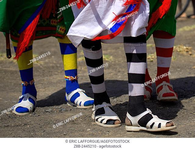 Rendille Tribe Warriors Wearing Jelly Shoes And Socks, Turkana Lake, Loiyangalani, Kenya