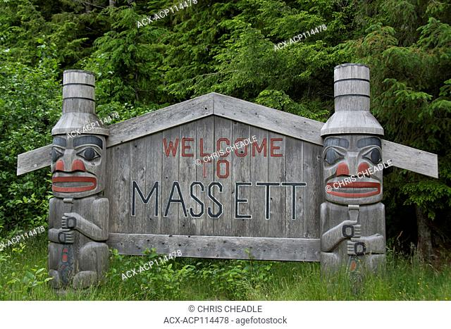 Welcome to Massett road sign, Haida Gwaii, formerly known as Queen Charlotte Islands, British Columbia, Canada
