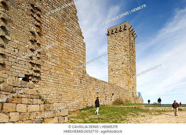 France, Lozere, La Garde Guerin, labelled Les Plus Beaux Villages de France (The Most beautiful Villages of France), watch tower