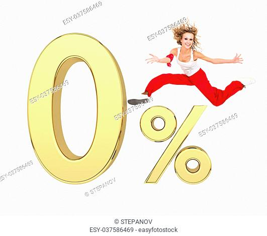 smiling girl jumping above gold 3d zero percent sign against isolated white background