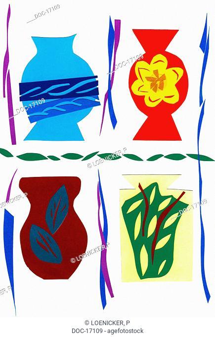 illustration of four vases on a white sheet