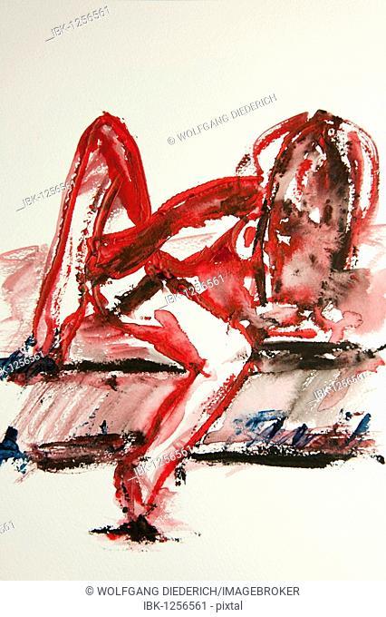 Female nude, watercolor, artist Gerd Kraus, Kriftel, Germany, Europe