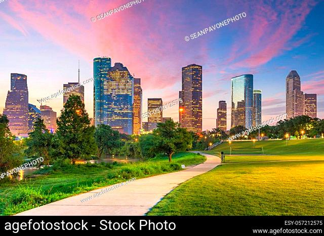 Houston, Texas, USA downtown city skyline and park at dawn