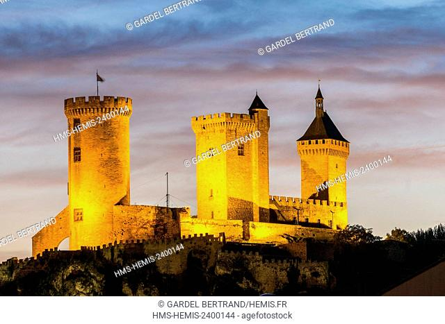 France, Ariege, Foix, Gaston Phoebus contal Castle of the Counts of Foix and overlooking the city