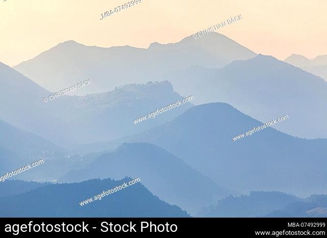 View from the Rossfels Panoramic road to the 'Salzburger Schieferalpen', at Berchtesgaden, Berchtesgadener Land, Upper Bavaria, Bavaria, southern Germany