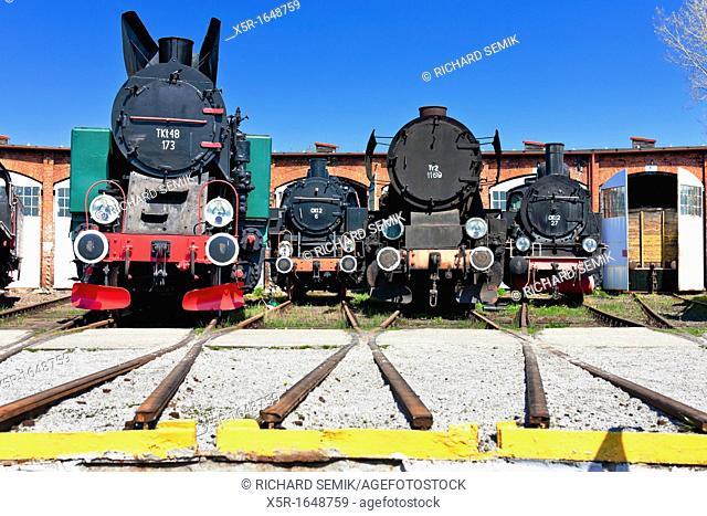 steam locomotives in railway museum, Jaworzyna Slaska, Silesia, Poland