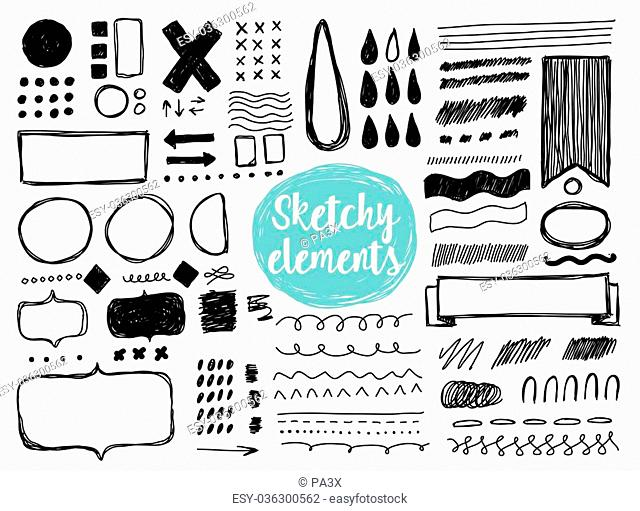 Set of hand drawn sketchy elements, brush strokes. Lines, drops, frames, borders, shapes. Isolated vector elements for your design. Black on white