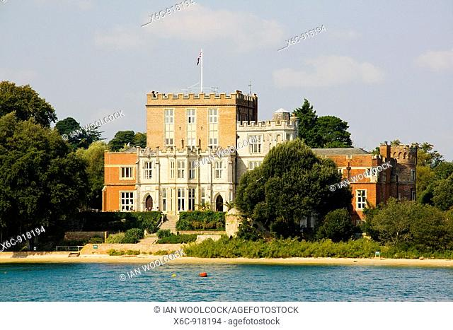Brownsea Island Castle seen from the water, Poole Harbour, Dorset England UK