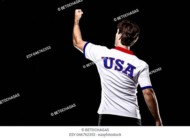 American Athlete Winning a golden medal on a black Background