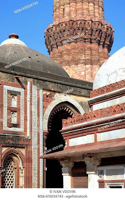 Minaret Qutb Minar and Alay Darvaza sultan Ala-ud-Din gate, 1310, Delhi, India