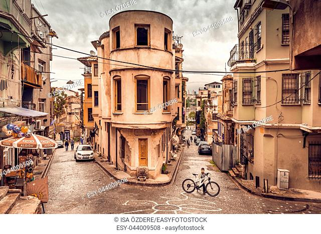 Panoramic Vintage view of Traditional Street and houses at balat area. Street view in historical Balat district. Balat is popular attraction in ISTANBUL