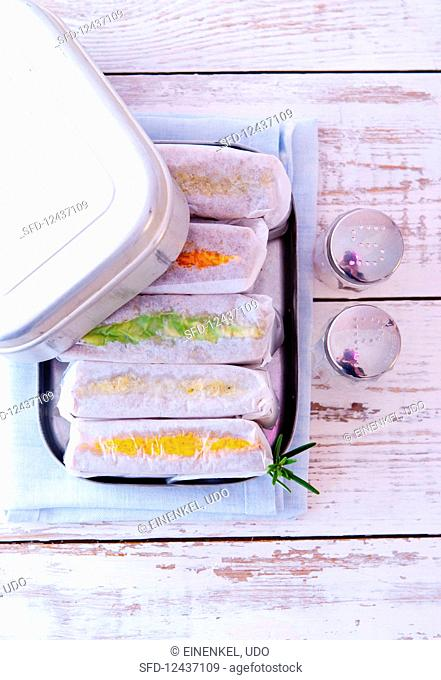 Sandwiches in a lunch box (seen from above)